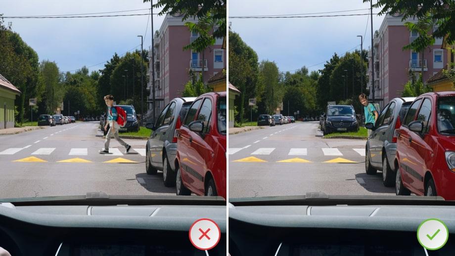 Pri prečkanju ceste med parkiranimi vozili, naj otrok sprva le z zgornjim delom telesa pogleda izza parkiranega vozila.