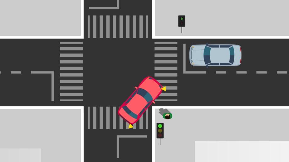 Nevarna situacija v križišču: vozilo zavija desno, otrok gre naravnost.